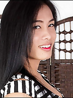 Nina is an authentic student, she's the typical young ladyboy next door. She's got a cute Issan face, long black hair, nice boobs. Her cock is big, it's rock hard but she's got a smooth and soft foreskin that feels awesome to the touch and in the mout